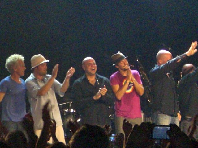 Momento final en el concierto de ayer en Madrid