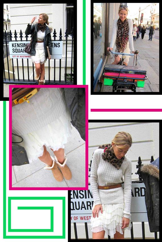 María León con falda mezclada con jersey de lana, botas UGG, cinturón de Hermès, foulard vintage, bolso de Marc Jacobs y chaquetón de Pedro del Hierro Sport.