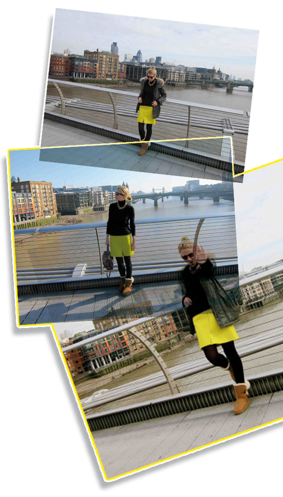 """Falda de color verde pistacho de COS, jersey de lana negro de cuello vuelto era de una tienda de cashmere a la que fui en Portobello Road y el collar vintage de """"Brodway Market"""" de Londres."""