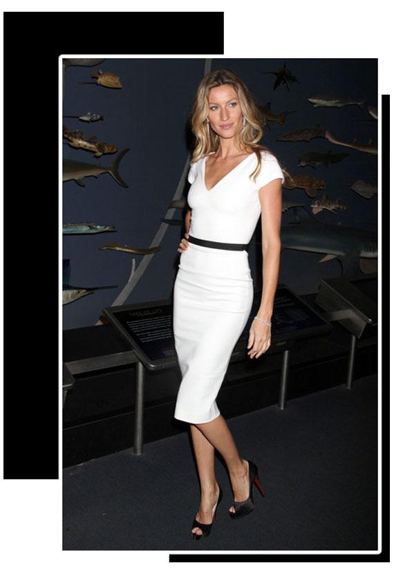 Look de moda blanco y negro de la top model Gisele