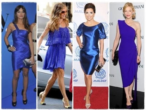 Combinar zapatos con vestido azul