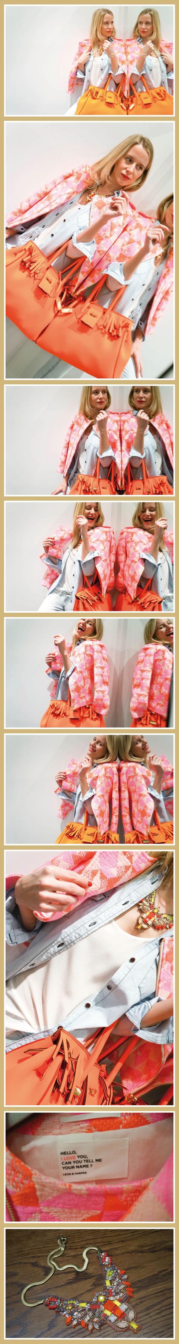 María León con cazadora con tejido Chanel en tonos flúor de Leon & Harper, jeans pitillo (muy lavados) de SOS ORZA y camisa vaquera de Leon & Harper
