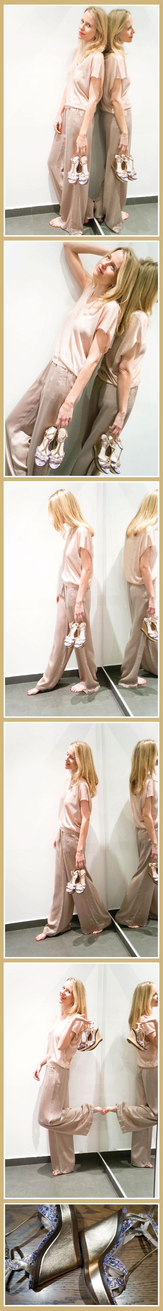 María León con top de lúrex nude de Virgine Castaway, pantalón de seda de BDBA y sandalia estampada pitón en tonos azules y morados de Vince Camuto