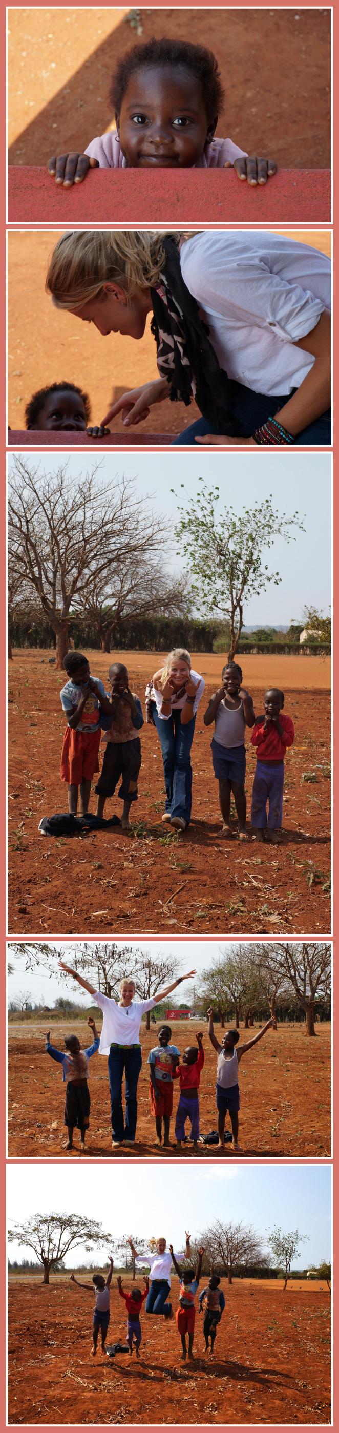Momentos de María León con los niños de Mozambique