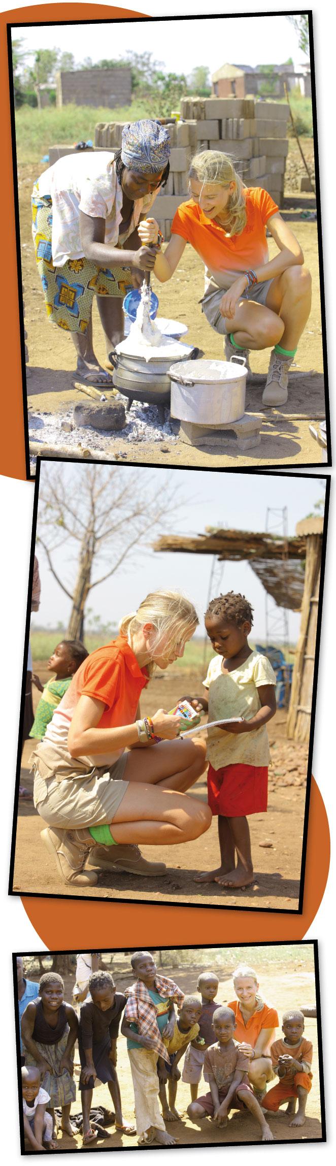 María León colaborando y entre niños en Mozambique