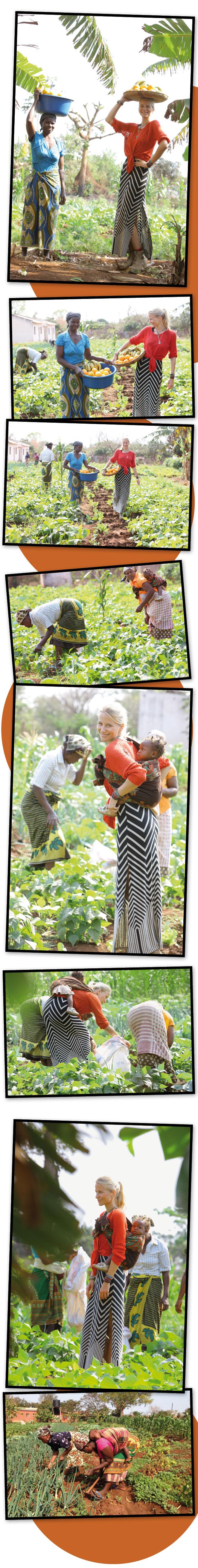 María León ayudando en el mantenimiento de las huertas en Mozambique