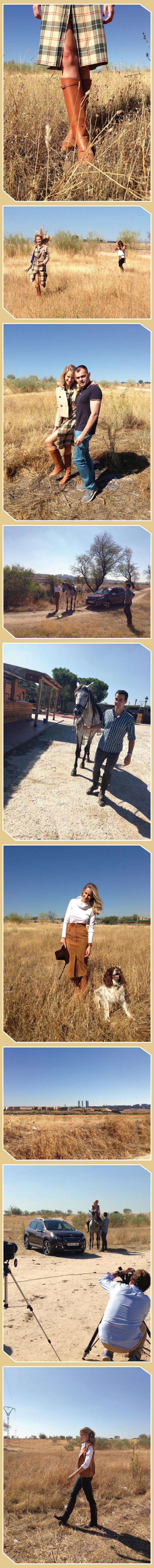 """Imágenes de """"Making of"""", sobre esta sesión de fotos en la que María León trabajó con un gran equipo y donde """"Canario"""", el caballo de su primo José fue uno de los protagonistas, junto al Peugeot 2008."""