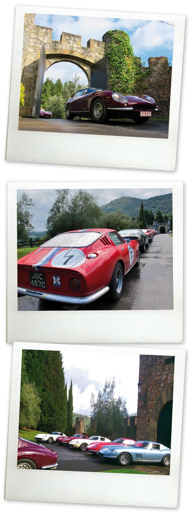 Comitiva de visitantes a bordo de unos espectaculares Ferraris 275