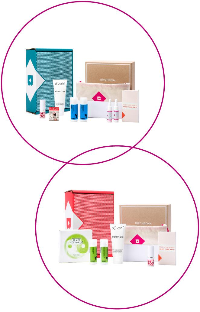 Caja Birchbox que incluye selección de productos de maquillaje, peluquería, cuidado de la piel, cuerpo y productos de tipo lifestyle.