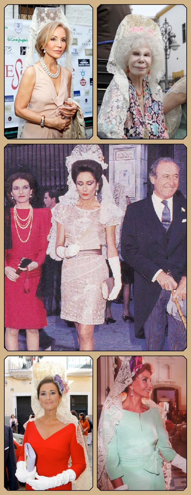 Mantillas de la tienda de antigüedades de los Bastilippo en famoses como Carmen Lomana y la Duquesa de Alba