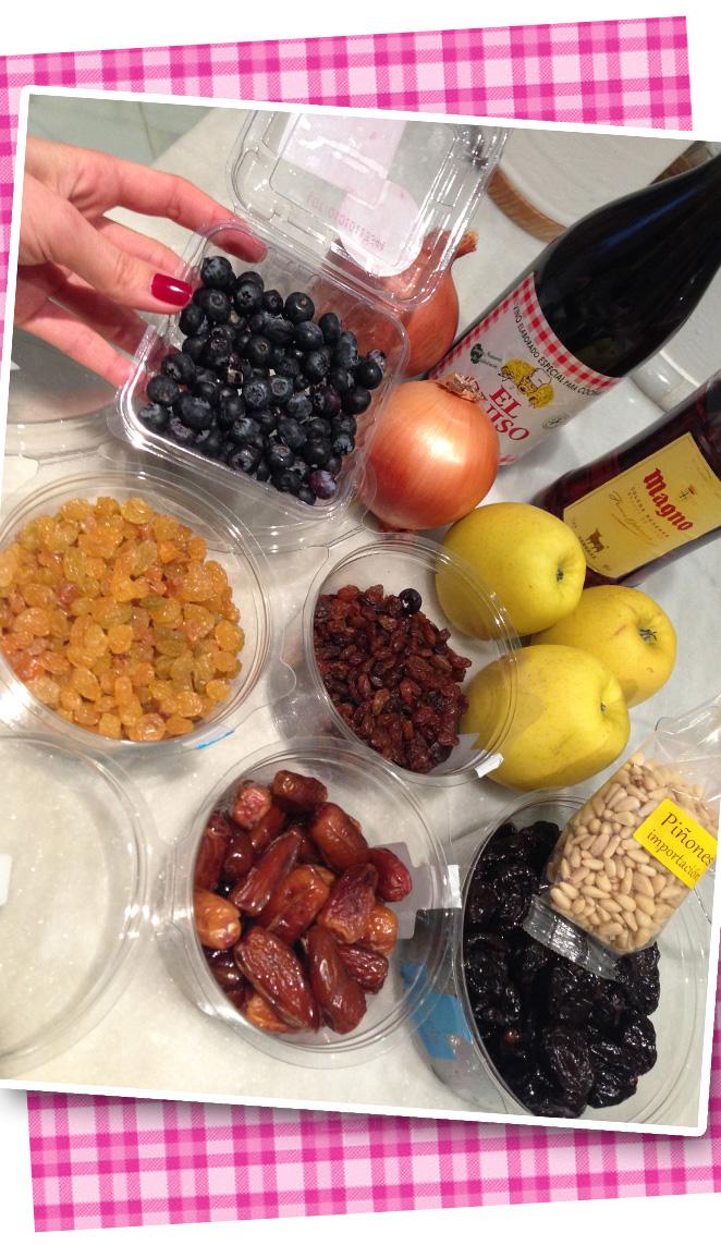 Ingredientes para la receta del pavo