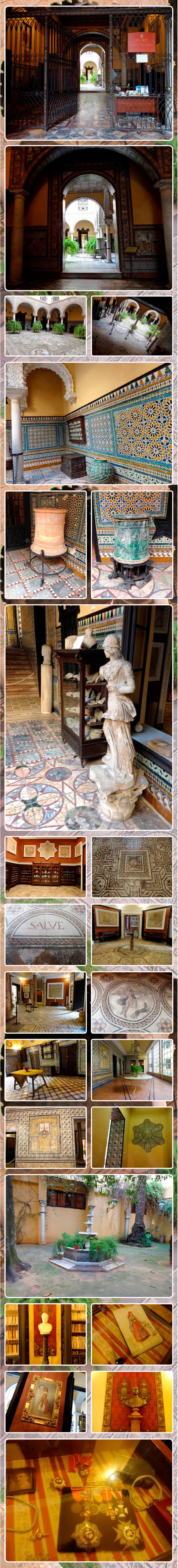El zaguán con azulejos del siglo XVIII, el patio principal con un mosaico original del siglo II y III d.C, los salones rojos donde hay vitrinas con objetos romanos y la Sala de la Medusa