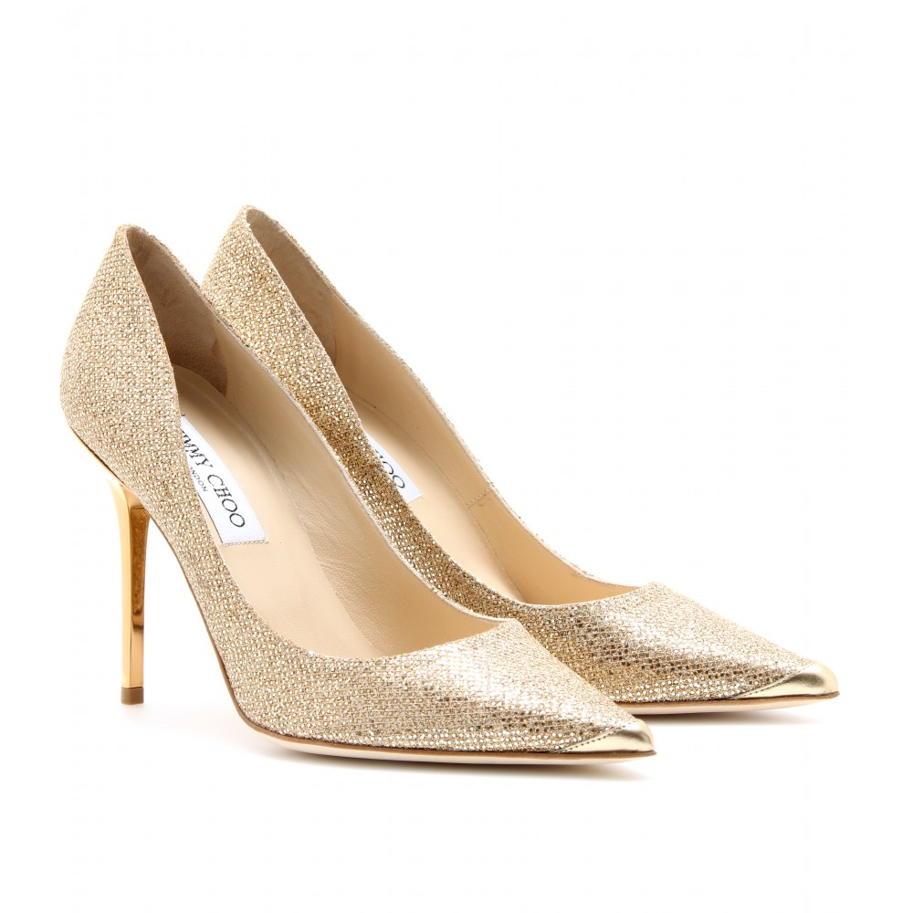 Jimmy-Choo-Abel-Gold-Glitter-Pointed-Toe-Pumps-