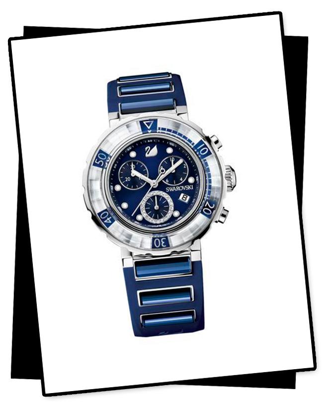 Reloj azul marino de Swarovski concurso María León Style