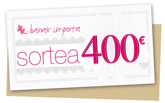 cheque regalo por valor de 400 € canjeable por cualquier mueble o artículo de decoración en tienda online o en tu tienda Banak