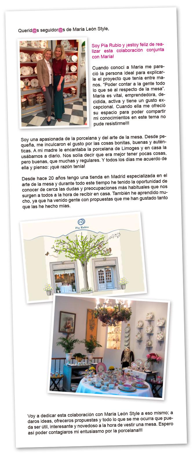 Carta de presentación de Pia Rubio y la colaboración con María León Style