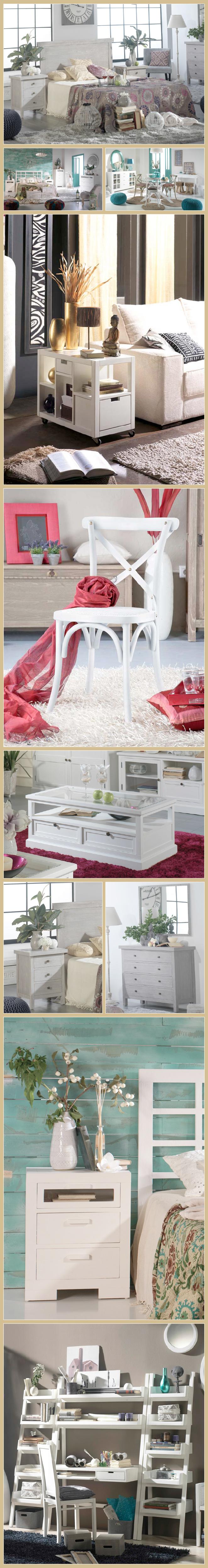 piezas en acabado en color piedra o blanco para completar vuestro dormitorio, salón o espacio de trabajo con un aire muy romántico