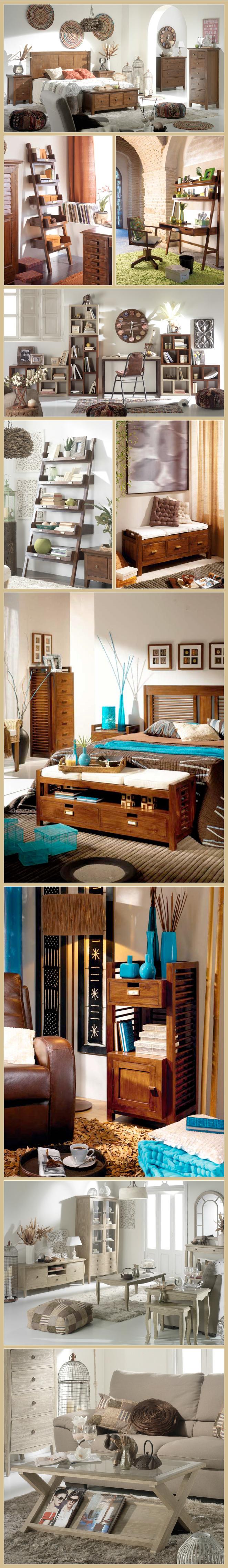 Muebles en acabado en color teca o avellana, tanto para el dormitorio como en piezas que os permiten crear divertidas combinaciones en vuestro estudio o salón.
