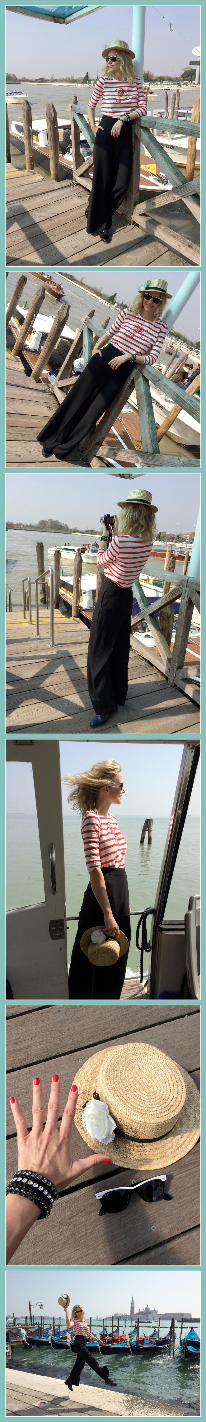 María León con outfit de camiseta a rayas de PDH Sport, pantalón negro de Mango, zapatos de cordones de Zara, canotier de Ontop Barcelona, gafas Ray Ban, pulseras de Swarovski y manicura roja de Nails Couture