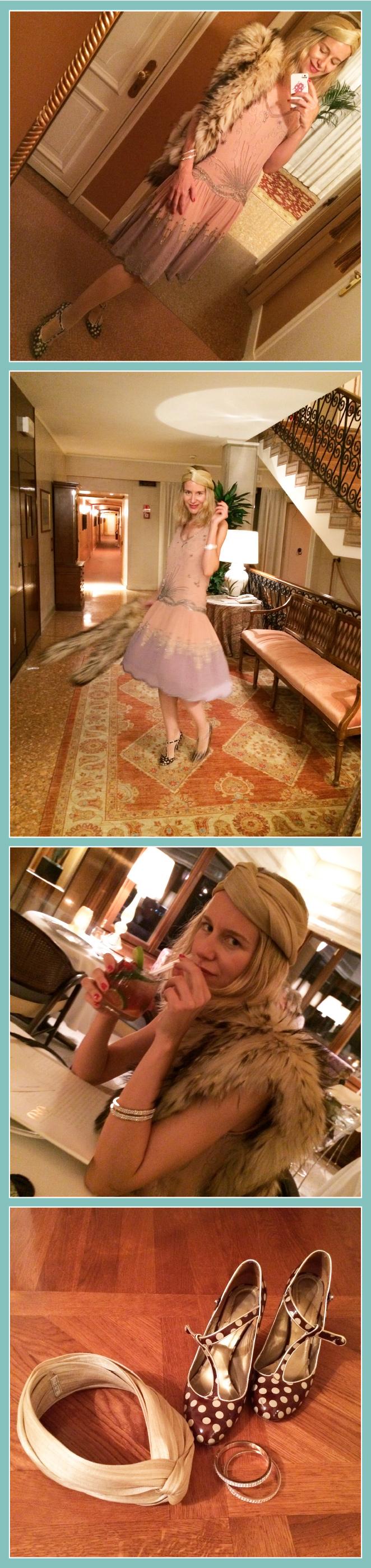 María León con vestido regalado por su madre, estola de pelo de Nelsy Chelala, zapatos de Cinngara, pulseras de Swarovski y turbante comprado en la venta especial que organizó Virginia León en Sevilla