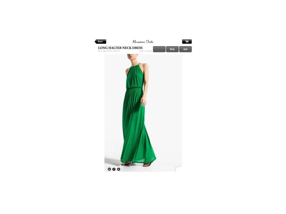 Vestido verde visto en Masimo Dutti
