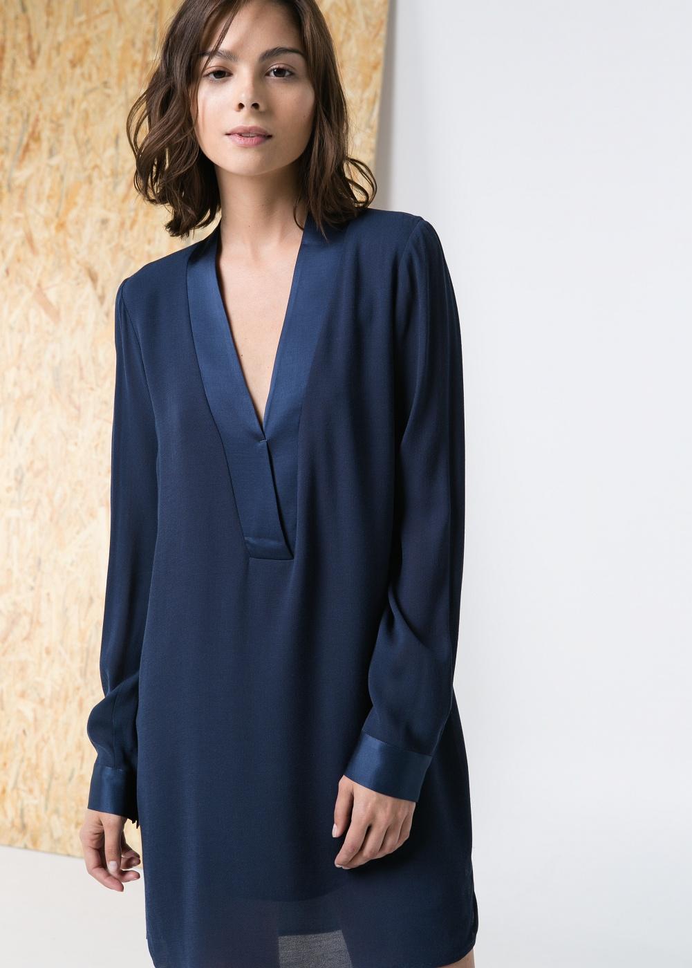 Vestido-túnica azul marino