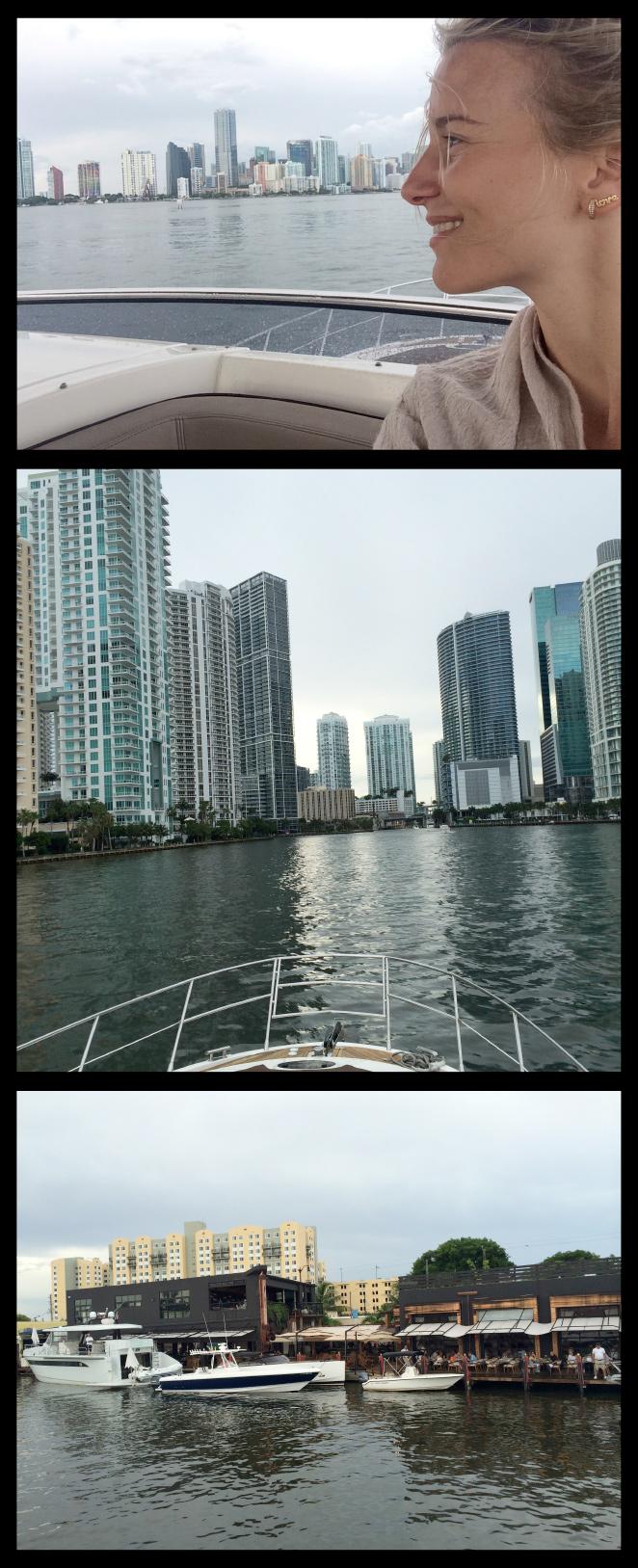 María León dando un paseo en barco por el corazón de Miami.