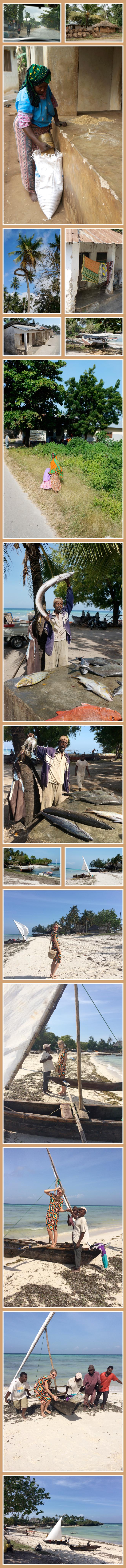 Visita en Zanzíbar de un pueblo de pescadores donde estuvimos conversando con los pescadores y viendo como limpiaban sus barquitos de vela y de madera llamados dhow (son icónicos de Zanzíbar).