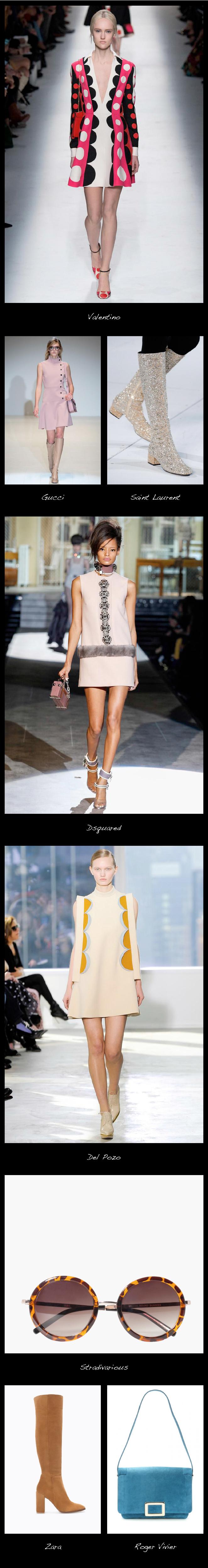 Retorno a los 60. Vuelve el estilo retro, los estampados psicodélicos, los mini vestidos y las botas de caña alta.
