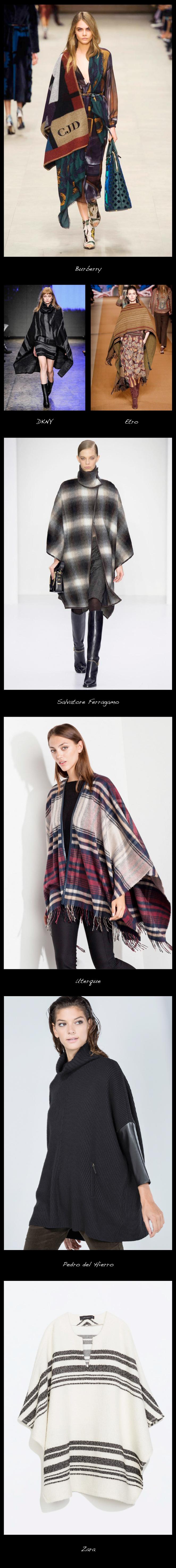 Los ponchos. Serán la prenda estrella este otoño-invierno. Burberry Prorsum sorprendió a todos en su desfile cuando vistió a todas sus modelos con mantas de lana con las iniciales de cada una bordadas en las prendas.