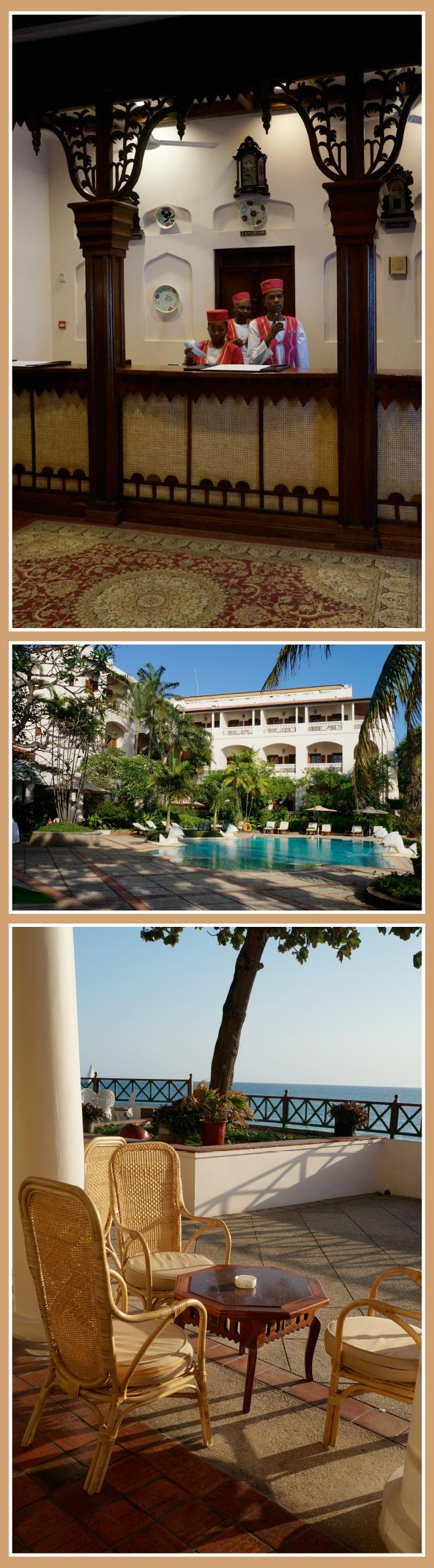 Atardecer mientras tomamos un zumo de fruta natural en la terraza del hotel Zanzibar Serena Inn, con vistas al mar.