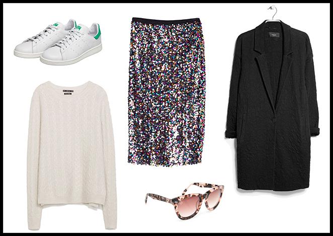 uite Blanco, Jersey: Zara, Abrigo: Mango, Zapatillas: Adidas, Gafas de sol: Pedro del hierro