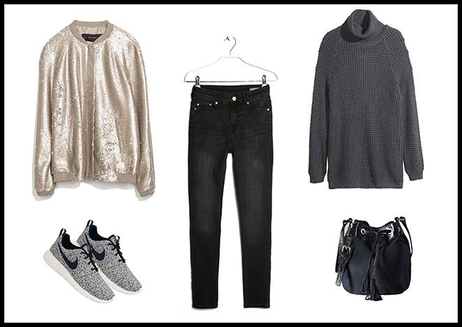 Bomber y Jersey: Zara, Pantalones: Mango, Bolso: Massimo Dutti, Zapatillas: Nike