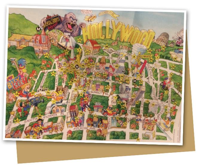 Este mapa de Hollywood me pareció muy claro para distinguir las distintas zonas del barrio!!