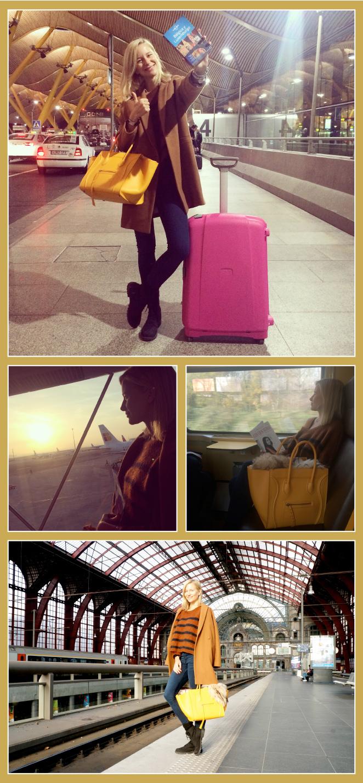 María León en el aeropuerto dirección Amberes