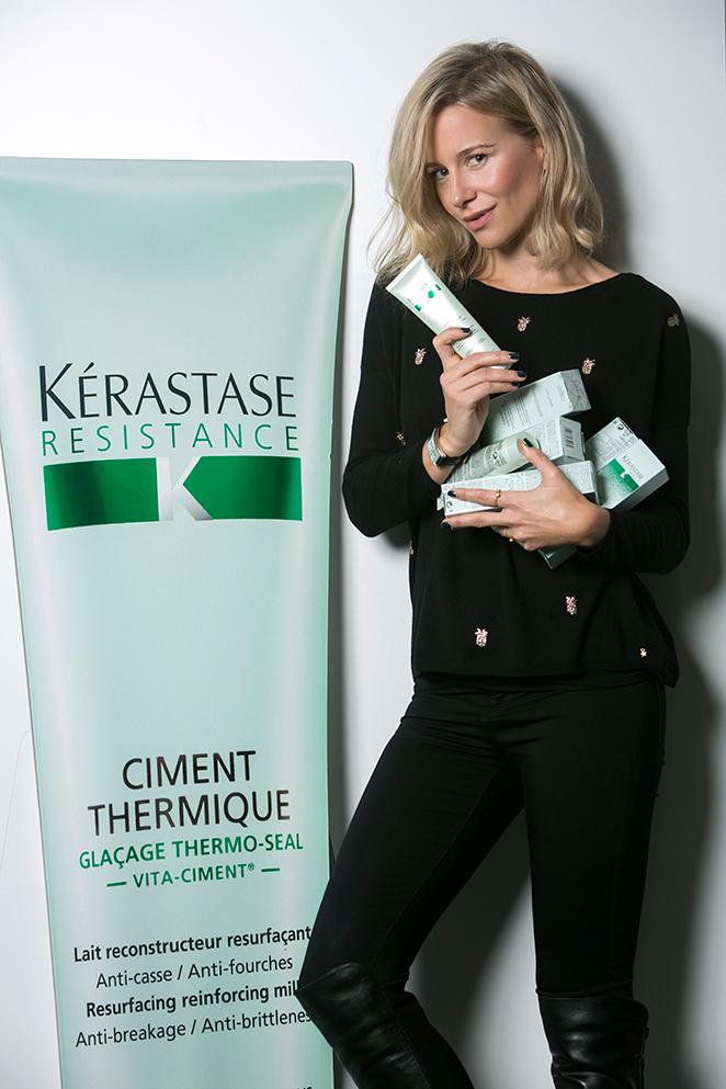 María León con Ciment Thermique de Kérastase