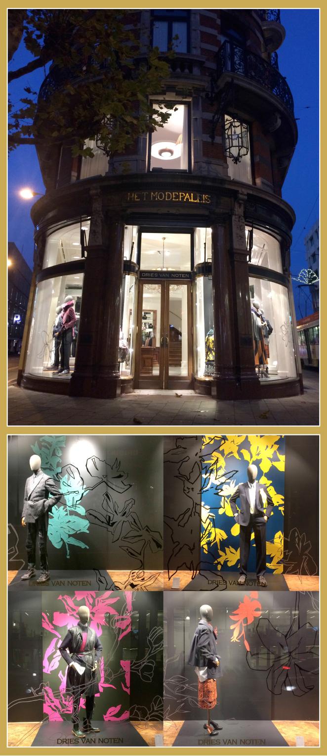 La Calle Nationalestraat donde está la tienda emblemática de Dries van Notten en el edificio antiguo Het ModePaleis.