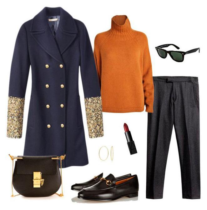 Combinación para abrigo marinero