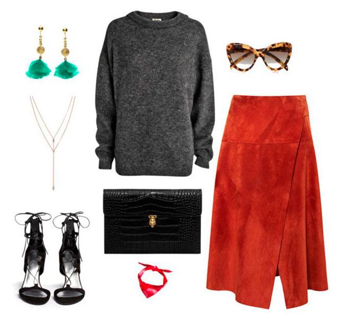 Combinación para falda de ante