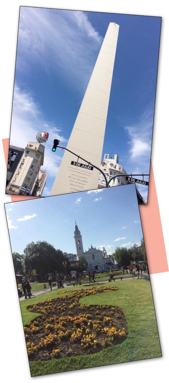El obelisco de la Avenida 9 de Julio y el cementerio de Recoleta