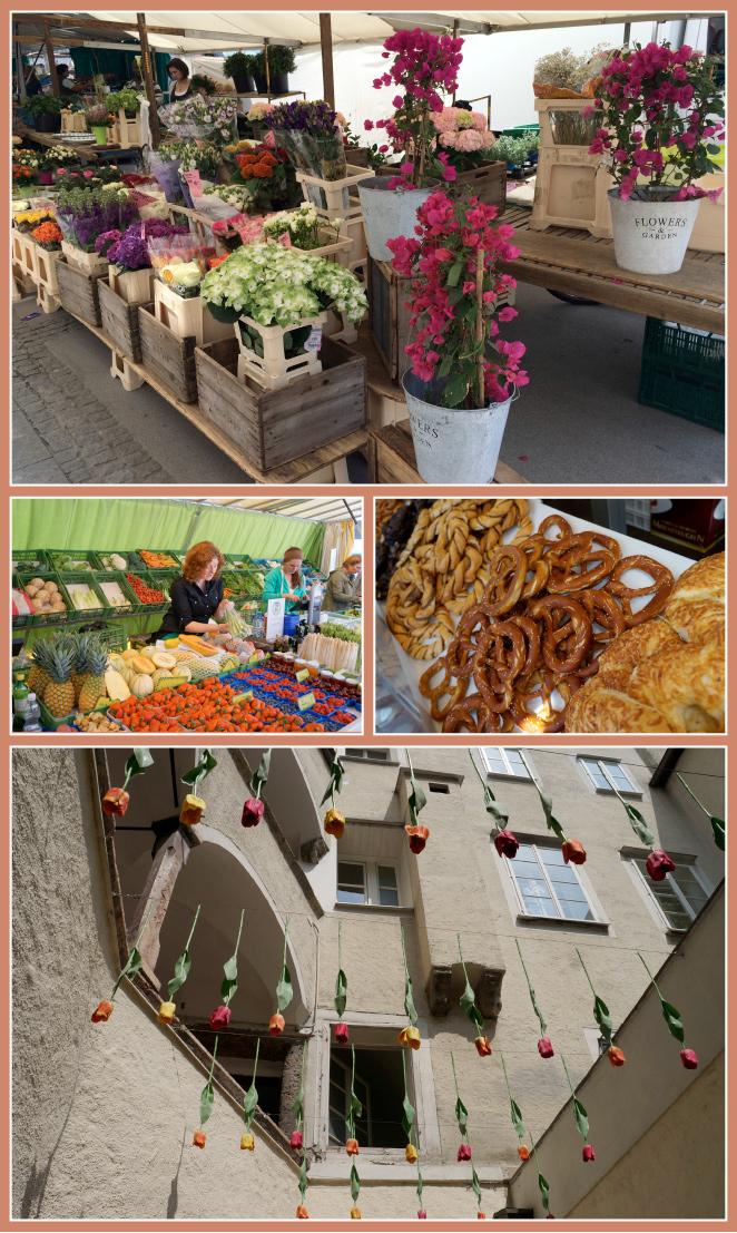 Mercado en Plaza de la Universidad (Universitäts Platz) o también llamada Plaza del Mercado Verde donde hay numerosos puestos de verduras, flores y deliciosos Pretzels