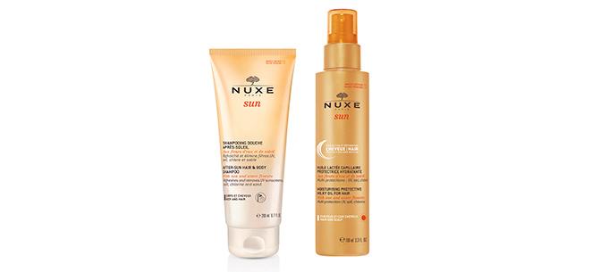 Champú de ducha after sun para cuerpo y cabello y leche protectora hidratante para el cabello de Nuxe Sun