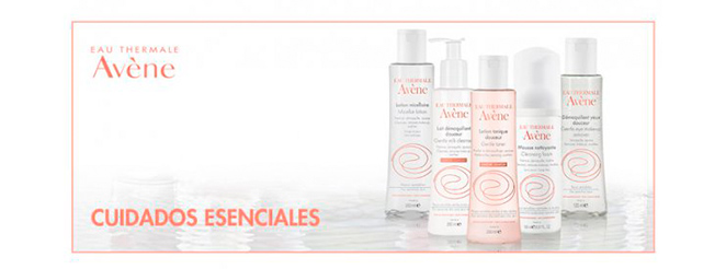 Cuidados esenciales de Avène: leche desmaquillante, loción micelar, mousse limpiadora, desmaquillante de ojos, tónico douceur