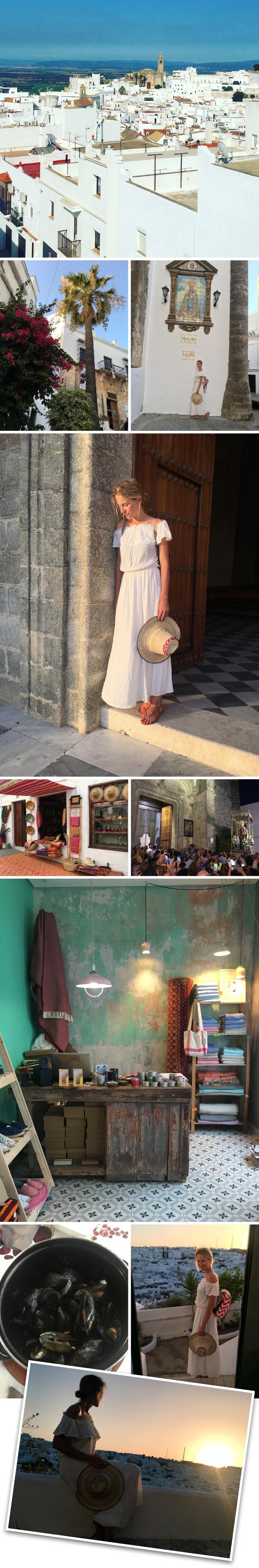 Siguiendo con esta entretenida ruta, la siguiente parada fue en Vejer de la Frontera, uno de los pueblos más bonitos de toda Andalucía. Os recomendaría ir durante la fiesta de la Virgen en Agosto, en concreto el día 12, porque todo está más animado y hay una procesión muy bonita. Hay hasta conciertos en directo por la noche de muy buen flamenco. No os perdáis las tiendecitas de la parte antigua donde veréis accesorios que marcan la diferencia y los restaurantes El Asador de Sancho (sus dueños, Damián y Pepi, son adorables!!) y El jardín de Claustro que tiene un balcón con espectaculares vistas. Si queréis dormir allí, os recomendaría el Hotel Califa, pero importante, tenéis que reservar con tiempo porque siempre está overbooking!!