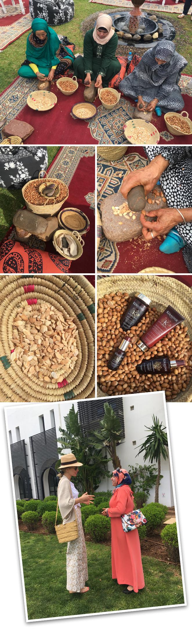 Para la obtención del aceite de Argán, KÉRASTASE colabora con las cooperativas de mujeres marroquíes, de ahí que nuestro viaje se iniciará en Agadir (Marruecos). A través de la colaboración con estas cooperativas que se dedican a la obtención del aceite se contribuye al empoderamiento de la mujer, potenciando su desarrollo profesional, dotando a su familia de medios y a sus hijos de educación, beneficiando de este modo a comunidades desfavorecidas.