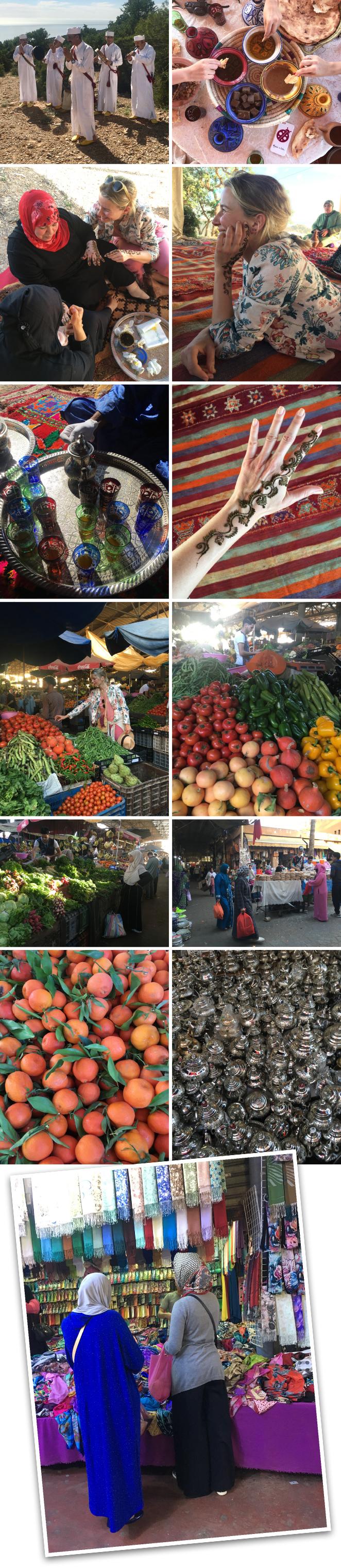 Si tuve la oportunidad de pasearme un ratito por el zoco de la ciudad donde se pueden comprar todo tipo de productos locales y hay ambiente local muy entretenido. Además, nos prepararon una típica merienda de la zona amenizada con música bereber.