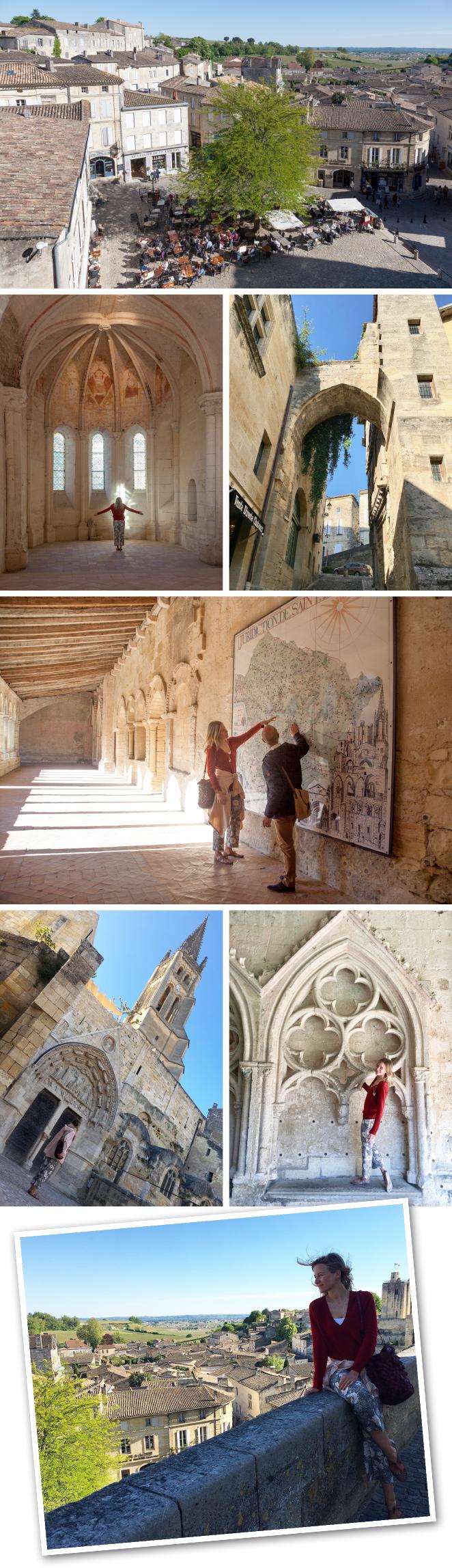 Saint Emilion, situado a una hora aproximadamente desde Burdeos en coche, es un pueblo medieval catalogado por la Unesco. Allí la gran protagonista es la piedra subterránea y hay cinco monasterios, una Iglesia monolítica (creada con una sola piedra), la capilla de la Trinidad (famosa por sus pinturas) o las catacumbas, además de la ermita de Emilion (el monje benedictino que fundó el pueblo en el siglo VIII), que alberga un famosísimo asiento de la fertilidad. Los claustros de los monasterios destilan una energía especial, sobre todo el de los agustinos que es verdaderamente maravilloso.