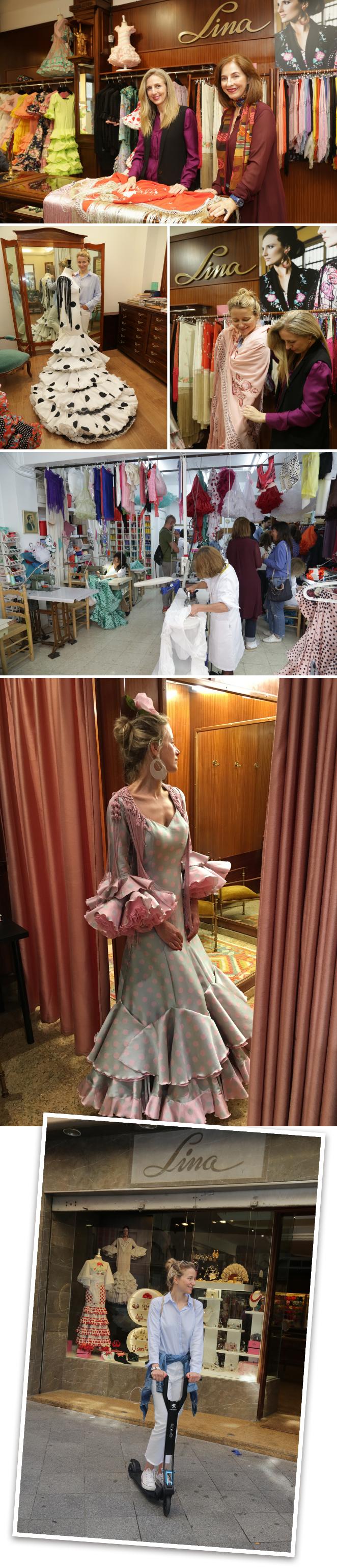 Luego tuvieron la oportunidad de adentrarse en el taller de Lina, la diseñadora más veterana de trajes de flamenca de Sevilla, que comenzó su carrera en 1969 y que saltó a la fama por ser la persona que vistió Grace Kelly durante su visita a la Feria de Abril con un precioso vestido blanco y rosa que quedará en nuestra memoria para siempre.