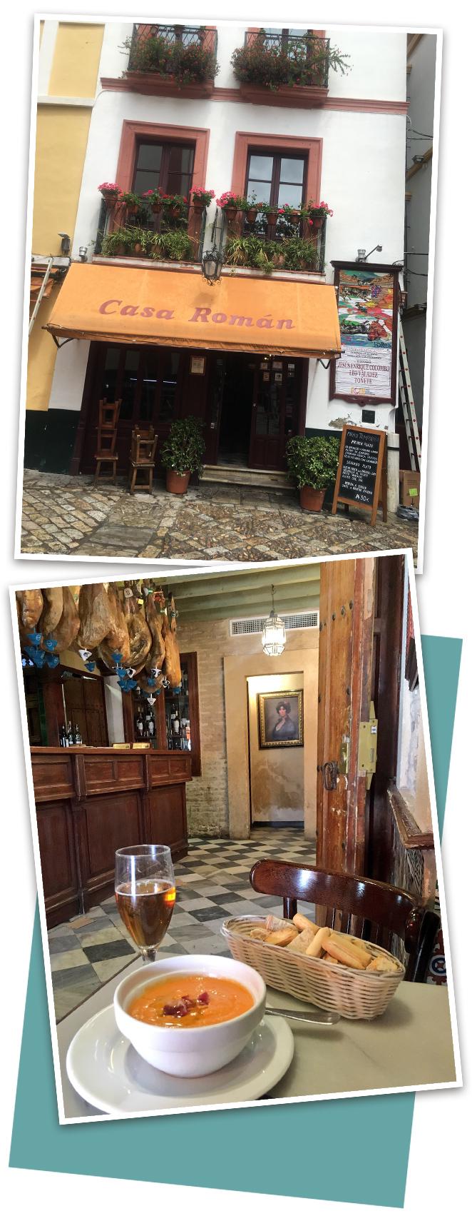 Nuestro plan acabó con un almuerzo informal y muy andaluz en Casa Román, uno de mis restaurantes favoritos de Sevilla donde siempre recomiendo tomar el salmorejo, las berenjenas y la presa ibérica.