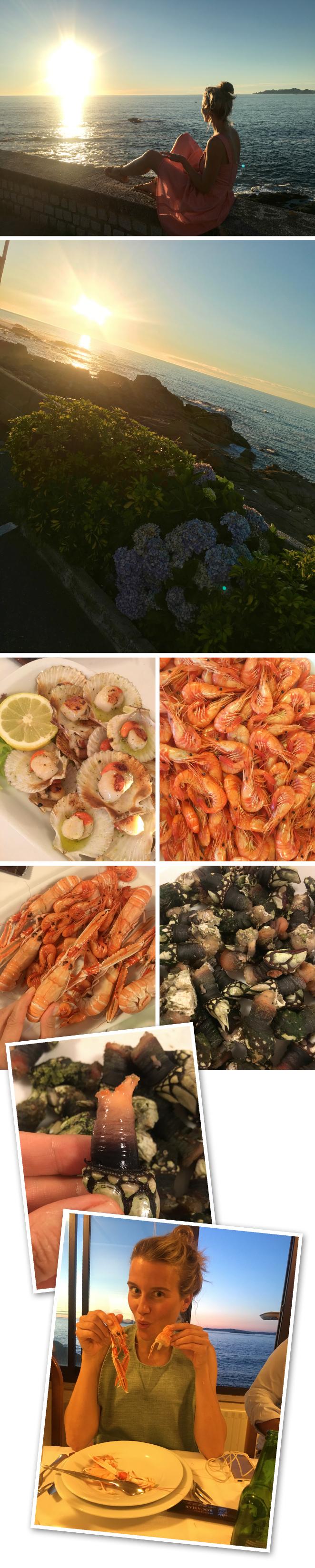 Para cenar y disfrutar del exquisito marisco gallego fuimos a Rocamar, un emblemático restaurante que se encuentra cerca de Bayona y desde el que se puede disfrutar de una espectacular puesta de sol